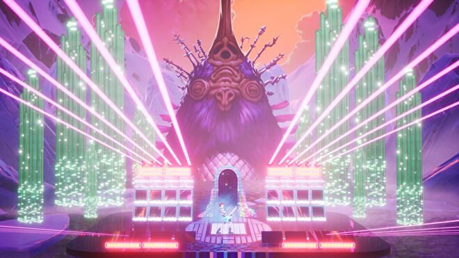 Francis rocks out on a fantastical music stage in front of a huge purple creature in The Artful Escape