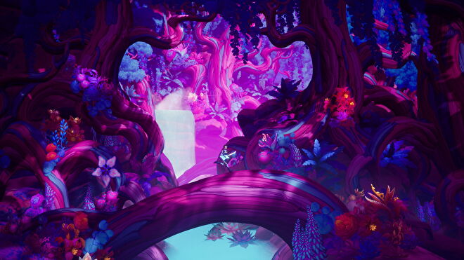 Francis runs with his guitar through a purple and blue forest in The Artful Escape