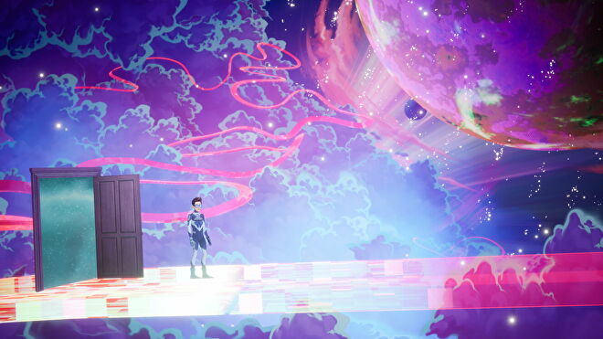 Francis stands on a beam of light against a cosmic background in The Artful Escape