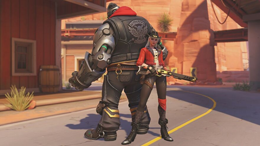 Ashe and Bob looking like cool bikers in Overwatch.