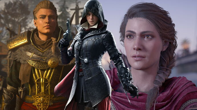 Artwork of Eivor, Evie Frye and Kassandra from the Assassin's Creed series