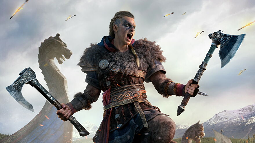 Artwork of Eivor screaming in battle in Assassin's Creed Valhalla