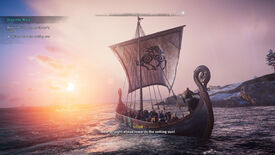 Sailing a boat in Assassin's Creed Valhalla's Discovery Tour.