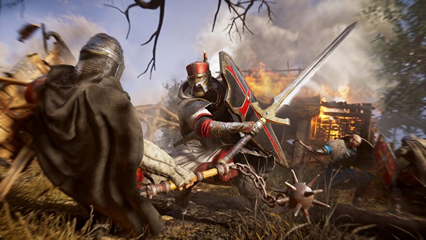 A screenshot of some angry men fighting with swords in Assassin's Creed Valhalla's new River Raid mode.