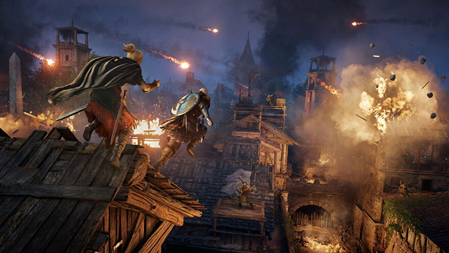 Two Vikings leap across Paris rooftops as they come under attack in Assassin's Creed Valhalla's Siege of Paris expansion