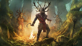 Three druids wearing stag horn hats in the key art for Assassins Creed Valhalla's Wrath Of The Druids expansion.