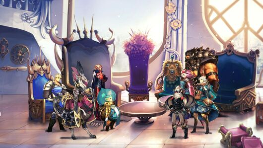 The party regrouping in their headquarters in Astria Ascending