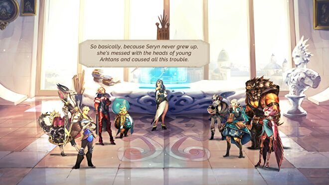 The party assembles in a large glass atrium in Astria Ascending