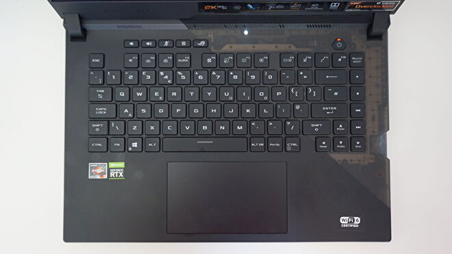 A photo of the Asus ROG Strix Scar 15's keyboard