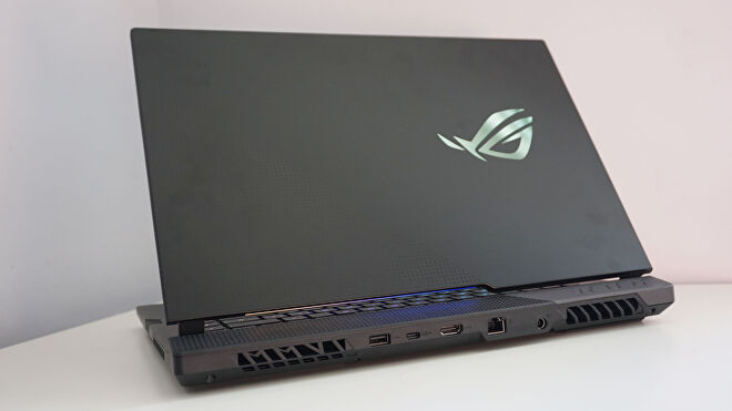 A photo of the Asus ROG Strix Scar 15's rear ports
