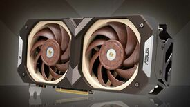 The Asus GeForce RTX 3070 Noctua Edition graphics card in front of a brown background.