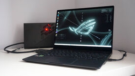 The Asus ROG Flow X13 gaming laptop in front of Asus' ROG XG Mobile eGPU