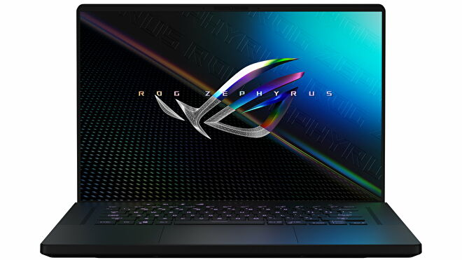 A photo of the Asus ROG Zephyrus M16 gaming laptop from the front
