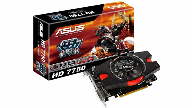 A graphics card box for Asus' Radeon HD 7750, depicting a samurai on a horse