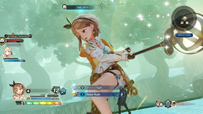 A screenshot of combat from Atelier Ryza 2 - a yong woman in short shorts, a white top and a yellow overcoat is swinging a staff. She seems pretty happy about it