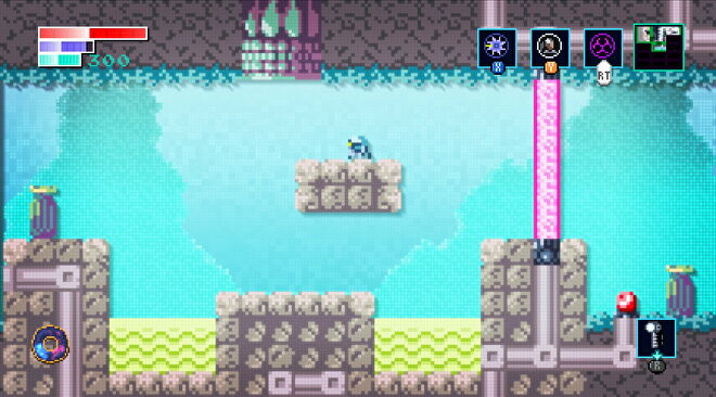 A small robot stands on a platform in a pixelated dimension in Axiom Verge 2