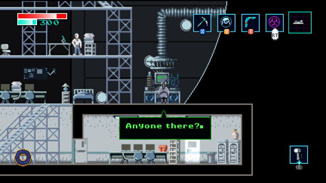 A woman stands at a computer in a lab in Axiom Verge 2