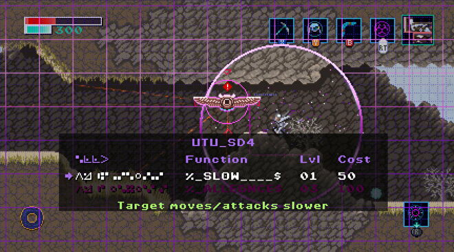 A robot owl is being hacked in a mountainous environment in Axiom Verge 2