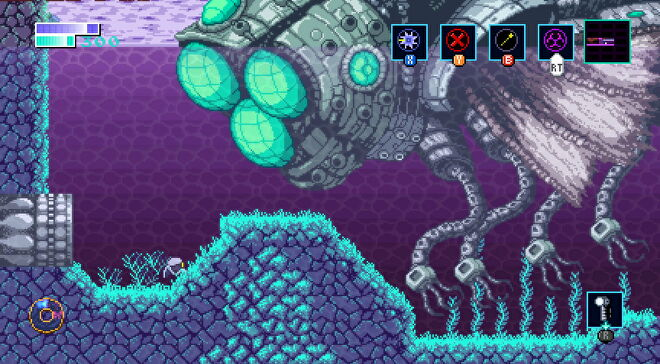 A small robot comes face to face with a giant fly robot in Axiom Verge 2