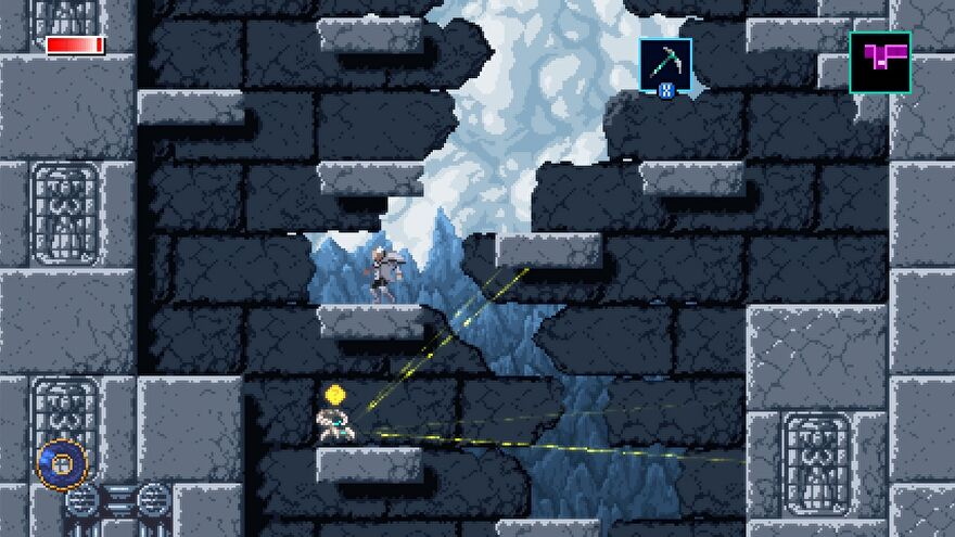 A screenshot of Axiom Verge 2, showing a series of grey, pixel art platforms and an enemy who is firing out yellow lasers.