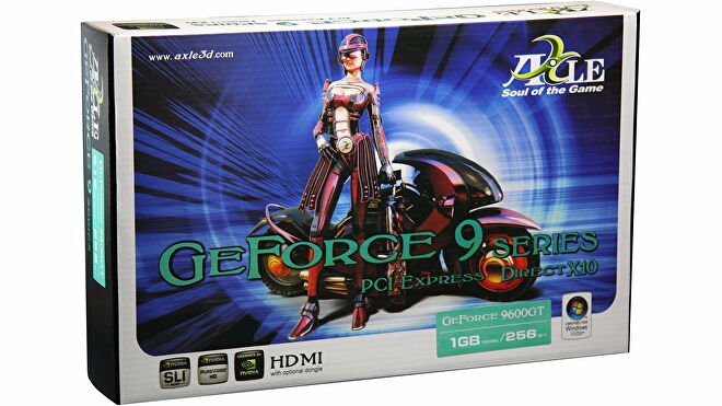 A graphics card box for Axle's GeForce 9600 GT, depicting a woman and a cyber bike