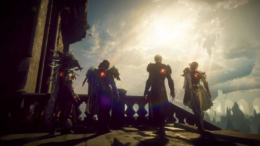 A screenshot of Babylon's Fall showing four heroes standing and looking out over a bright sky.