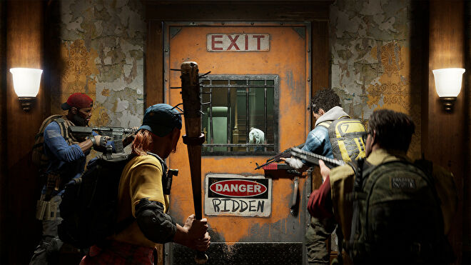 The survivors prepare to leave a safehouse in a Back 4 Blood screenshot.