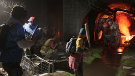 Back 4 Blood screenshot showing survivors fighting a giant zombie in a sewer.