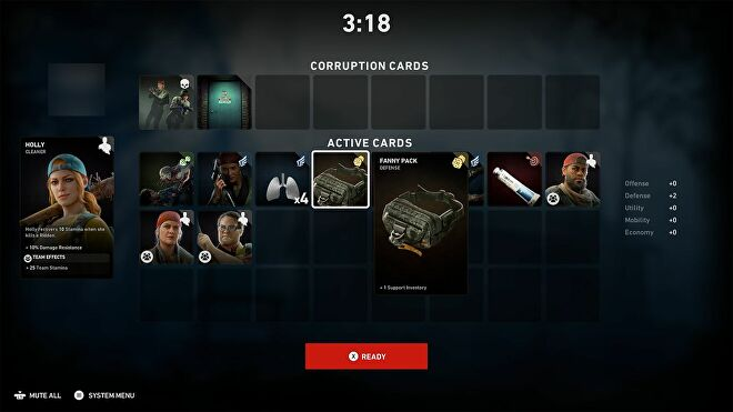 A player's card inventory in Back 4 Blood