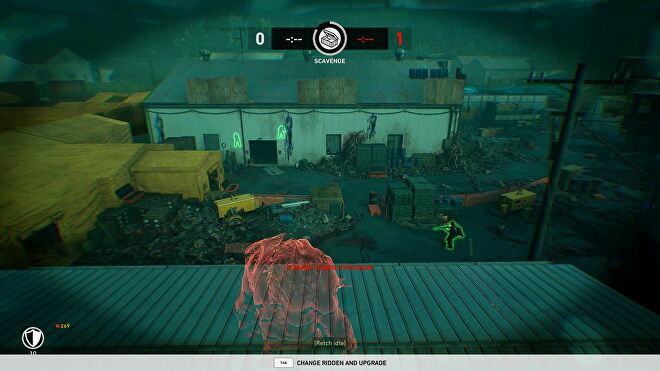The red outline of a zombie looks out over a fortified camp in Back 4 Blood's PvP mode