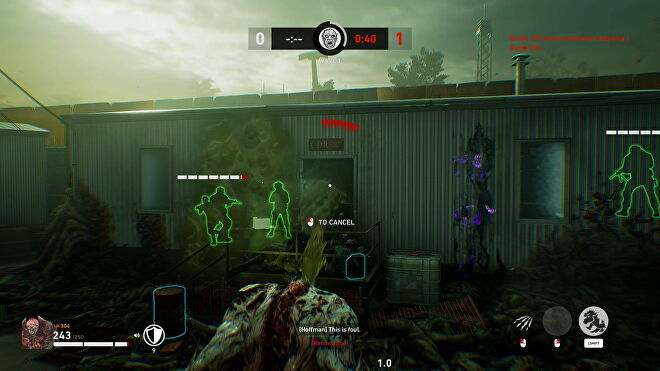 A zombie tries to belch vomit into a room full of humans in Back 4 Blood's PvP mode
