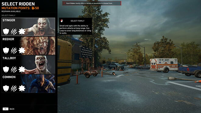 The zombie select screen in Back 4 Blood's PvP mode