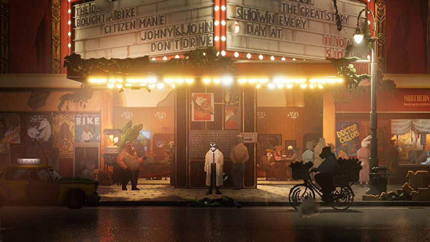 Backbone - A bipedal raccoon in a trenchcoat and business attire stands in front of a theater at night in the rain with bright yellow street lights and other animal people passing by.