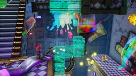 Balan Wonderworld - The main character is dressed in a red mouse costume looking at walls splashed with rainbow paint, a giant paintbrush, and a bunch of translucent platforms between them and another checkered hallway.