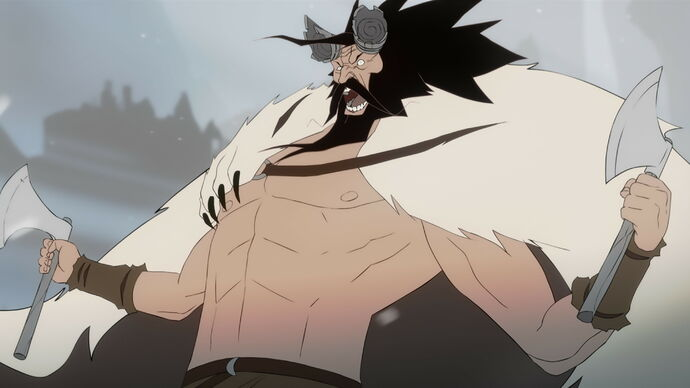 Varl berserker Bolverk screaming in The Banner Saga 2