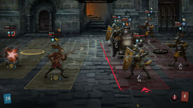 A screenshot of Banners Of Ruin showing a side-on battle between anthro rabbits and heavily armoured anthro bears, foxes and more.