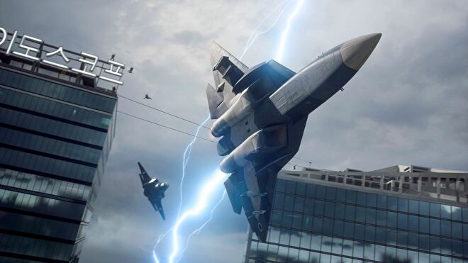 Two jet fighters pursue each other through skyscrapers in Battlefield 2042