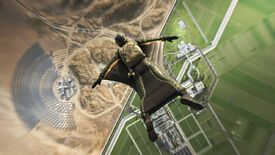 A soldier dives in a wingsuit, flying over a map in Battlefield 2042. Half is a desert, while the other half is an enclave full of lush fields and orderly roads.