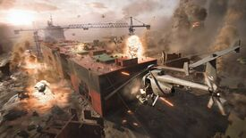 A wide shot showing a pitched battle in Battlefield 2042, taking place on a partially destroyed, beached cargo ship. Drones, helicopters and explosions are all in play