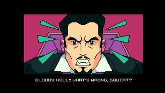 A screenshot from the game BATS showing a man who resembles Dracula looking upset. He's saying 'Bloody hell! What's wrong, squirt?'