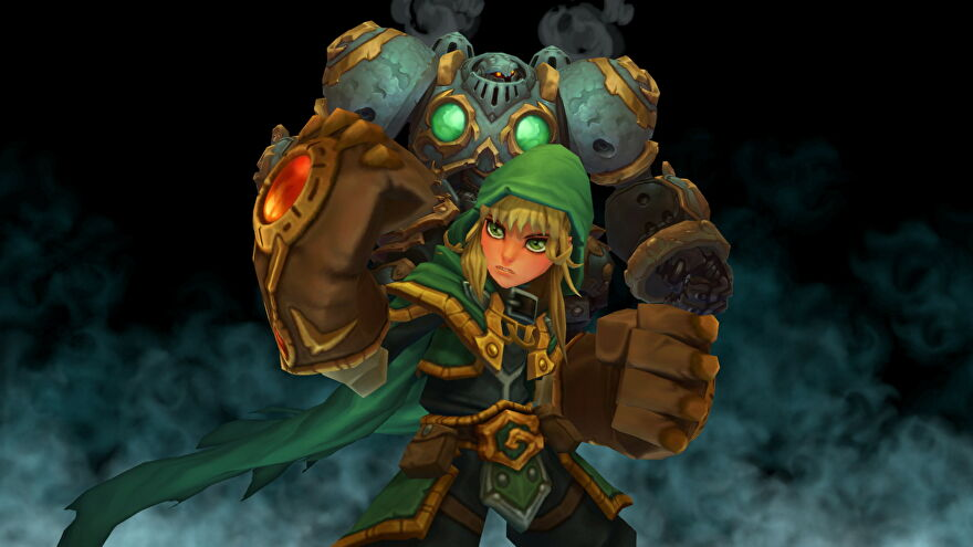 A close-up of Gully wielding her giant gauntlets in Battle Chasers: Nightwar