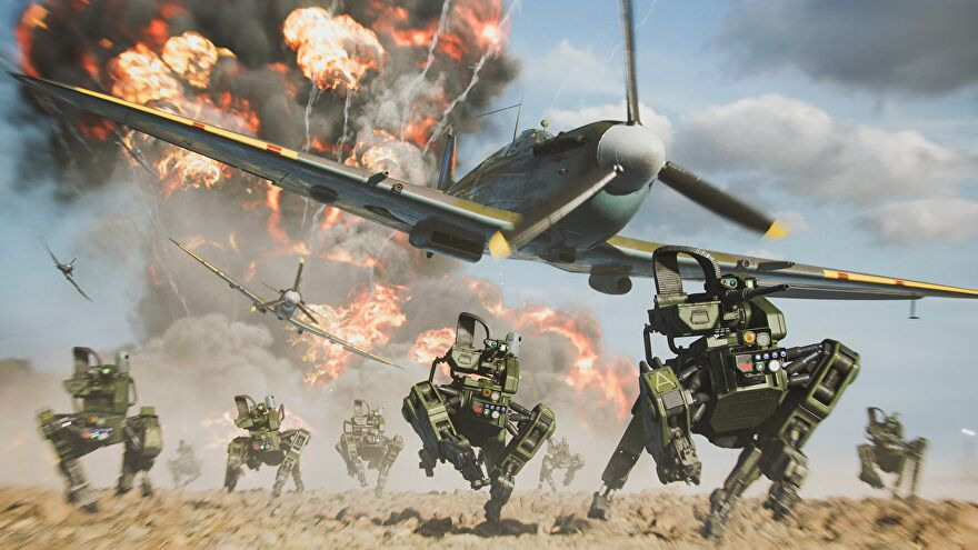 Futuristic robot dogs rush across a battlefield while spitfires fly through the skies in Battlefield 2042