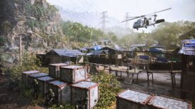 A helicopter soars over a rural village in Battlefield 2042's Valparaiso map
