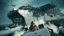 Armoured boats pour out of a large battleship in Battlefield 2042's Noshar Canals map