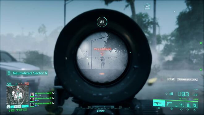The player aims down a scope and opens fire on an enemy soldier in Battlefield 2042.