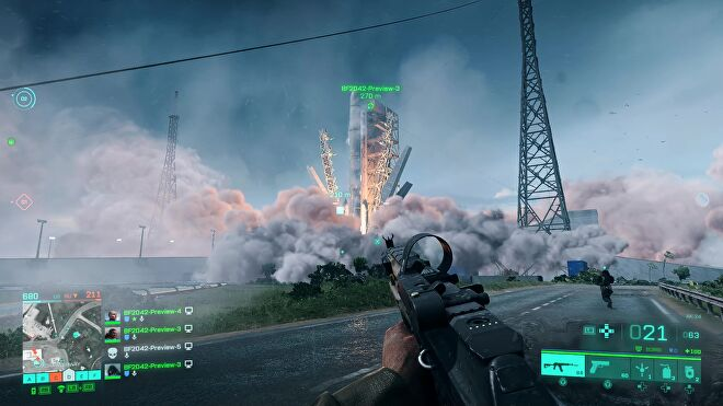 The player watches a space shuttle take off in Battlefield 2042.