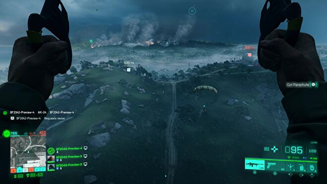 A player parachutes into woodland during a storm in Battlefield 2042.