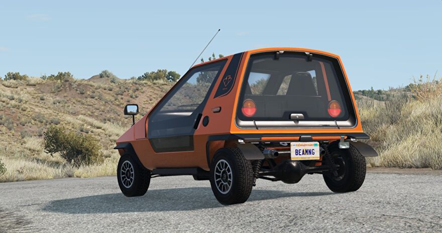 A screenshot of BeamNG.drive showing the sporty Ibishu Wigeon, a car, facing away from the camera in a dusty landscape.