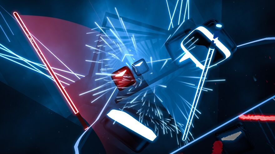 A screenshot of Beat Saber, a VR rhythm game, in which neon blocks are rushing towards the screen and being sliced apart by floating lightsabers.