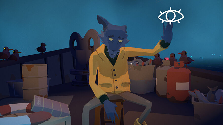 A screenshot of Before Your Eyes showing the Ferryman, a dishevelled humanoid dog dressed as a sailor.